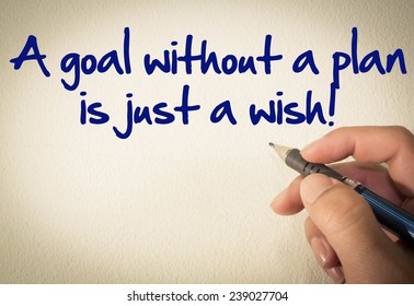 A goal without a plan is just a wish! text write on wall