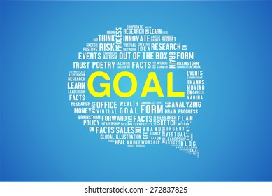 GOAL word on speech bubble in blue background