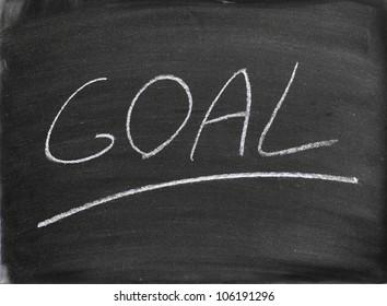 the goal word written on a blackboard