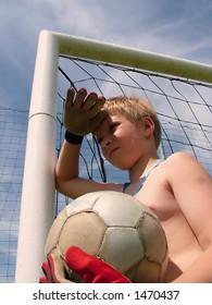goalkeeper, boy, hands, gloves, football, sky, blue