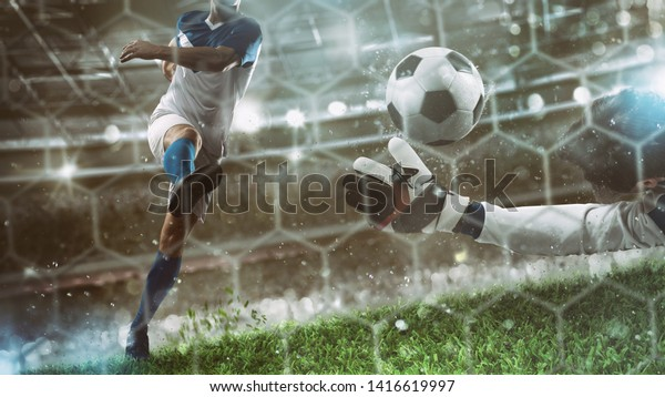 Goalkeeper catches the ball in the stadium during a football game