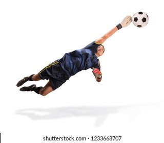 goalkeeper flying for the ball isolated on white