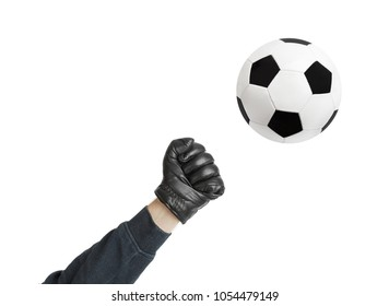 Goalkeeper hand and soccer ball isolated on white background