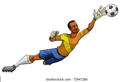 goalkeeper jumping to catch the ball wit one hand