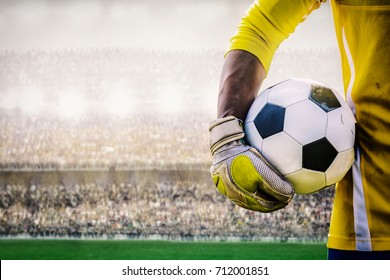 goalkeeper with a soccer ball in the stadium