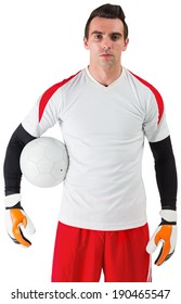 Goalkeeper standing in white jersey on white background
