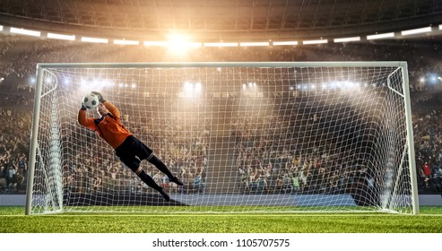 Goalkeeper is trying to save from a goal in a jump on a professional soccer stadium. Stadium and crowd are made in 3D.