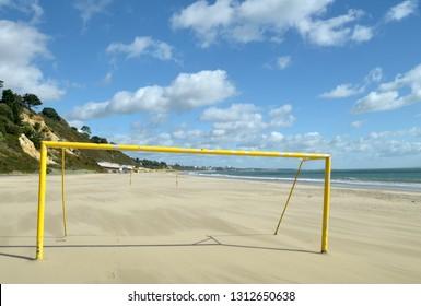 Goalposts on beach, Bournemouth, Dorset