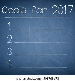 GOALS FOR 2017 text written on a blue chalkboard