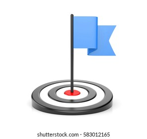 Goals - blue flag and black target. 3d illustration