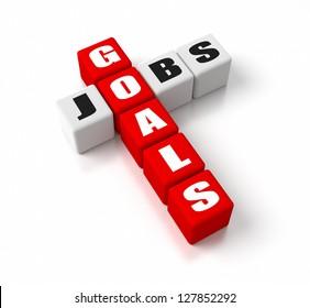 Goals Jobs crosswords. Part of a business concepts series.