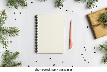 Goals plans dreams make to do list for new year 2018 christmas concept writing in notebook pen gift fir brunches on white background. New year winter holiday xmas