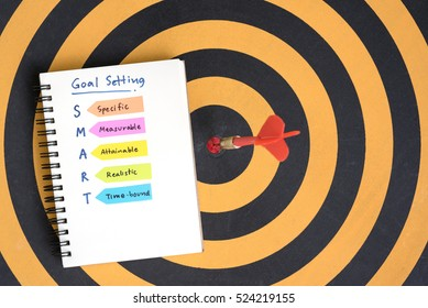 Goals setting and SMART with hand written acronyms definition on the notebook with red arrow dart target hitting in bullseye on dartboard, Business success concept