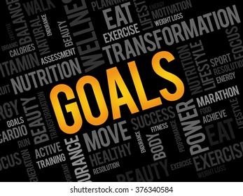 GOALS word cloud, fitness, sport, health concept