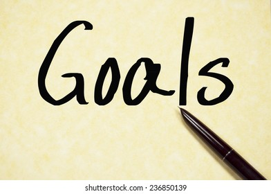 goals word write on paper