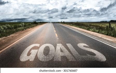 Goals written on rural road