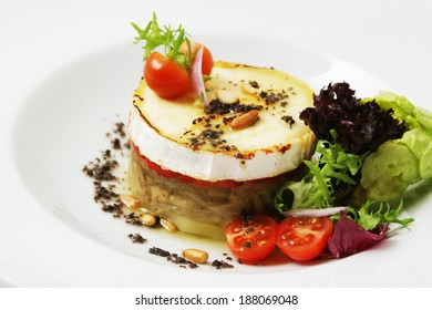 Goat cheese salad with pine nuts.