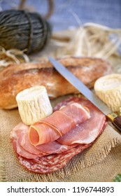 goat cheese and sliced ham