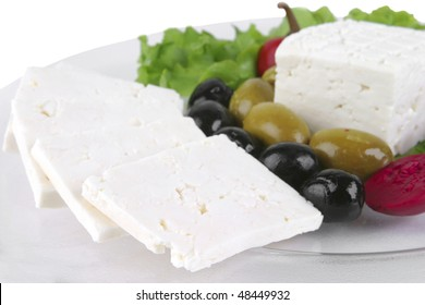 goat greek cheese served on transparent dish