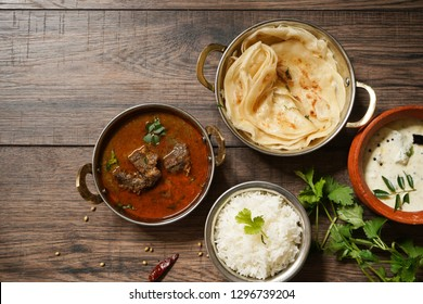 Goat or Lamb Mutton curry with rice nd roti/ Indian meal concept