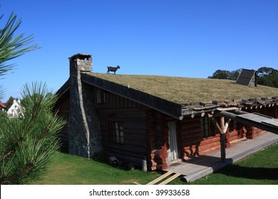 goat on roof of log cabin