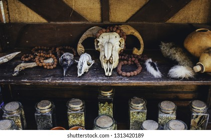 Goat skulls for terrifying decoration, halloween detail, witchcraft