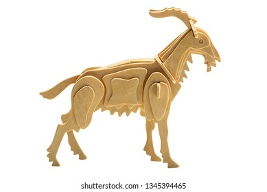 Goat in wooden art style isolated on white background with clipping path