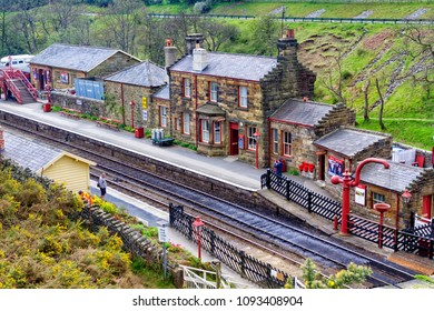 GOATHLAND, ENGLAND - MAY 1, 2018: Goathland station in Yorkshire Moors National Park was used in Harry Potter movie as Hogsmeade train station.