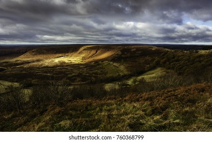 Goathland, Yorkshire, UK. Hole of Horcum at dawn in the North York Moors in autumn with view of the natural depression near Goathland, Yorkshire, UK.