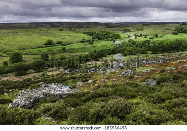 Goathland, Yorkshire, UK. The North York Moors showing the undulating and rugged landscape with rocks from the Jurassic period shot near the village of Goathland, Yorkshire, UK.