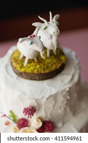 Goats topper on a Wedding Cake