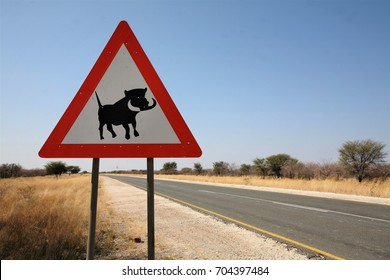 Gobabis / Namibia - July,2017: Caution Sign of warthog crossing near aside of highway in the Namibian lands.