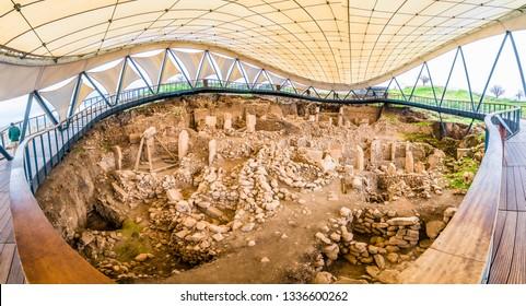 Gobeklitepe ruins  view in Sanliurfa Province of Turkey.