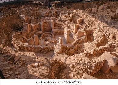 Gobeklitepe ruins view in Sanliurfa Province of Turkey. Gobeklitepe, whose construction dates back to 10000 B.C., is known as the oldest and largest center of worship in history.