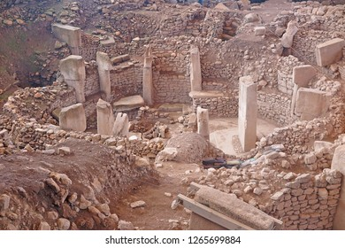 Gobeklitepe, Urfa/Turkey-December 25, 2018: Gobeklitepe is an archaeological excavation site which is located near Sanliurfa 12,000 years ago and is the first temple of the world.