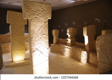 Gobeklitepe, Urfa/Turkey-March 05, 2019: Gobeklitepe is an archaeological excavation site which is located near Sanliurfa 12,000 years ago and is the first temple of the world.