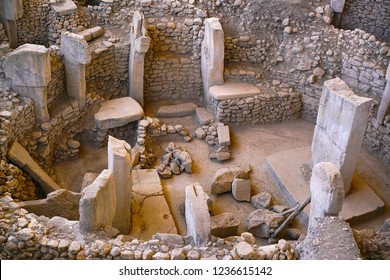 Gobeklitepe, Urfa/Turkey-November 19, 2018: Gobeklitepe was built tens of centuries before invention of writing and the wheels and  one of the greatest archeological findings in our planet's history.