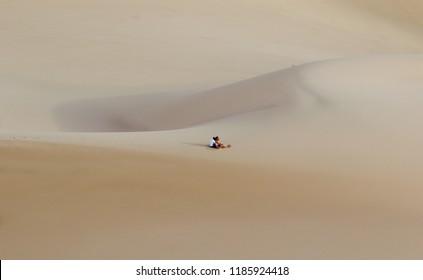 GOBI DESERT - AUGUST 2018: Couple sitting looking the horizon in the middle of the sand dunes of Gobi desert, Mongolia.
