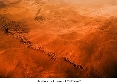 Gobi desert view from the airplane.
