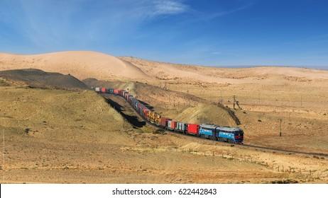 Gobi scene of the Trans-Mongolian Railway.
