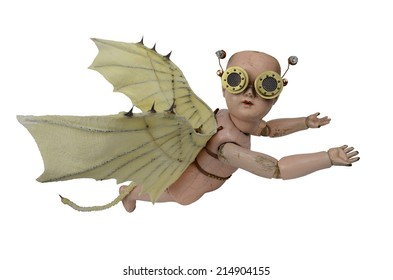 Goblin steam punk creepy doll with Da Vinci bat wings and aviator goggles flying isolated on white