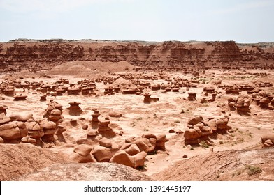 Goblin valley desert rocks with details