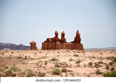 Goblin valley desert rocks, details of a rock formation