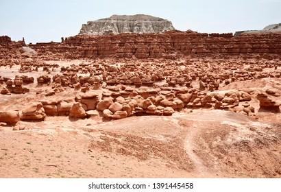 Goblin valley desert rocks overview
