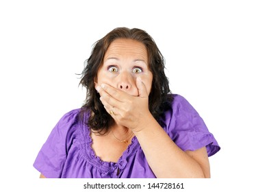 Gobsmacked, shocked or surprised woman with hand over mouth