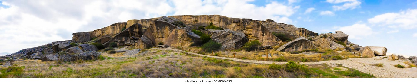 Gobustan National Park. Gobustan National Park, the oldest settlement in Azerbaijan, is protected by unesco. Gobustan, Azerbaijan. 23 may 2019