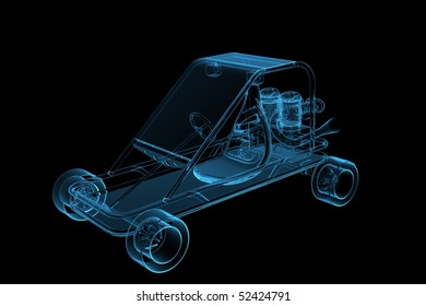 GoCart 3D rendered xray blue transparent