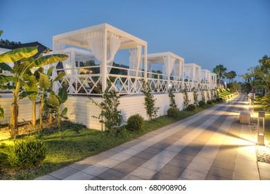 Gocek, Turkey -11 July 2017-  Luxury Hotel Rixos Premium Gocek  Resort  at sunset, Luxury resort with pavilion in sunset