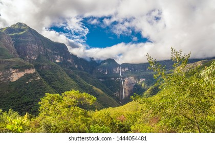 Gocta waterfall on a sunny day