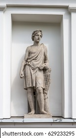 God Adonis. Statue of Pudozh stone in the niche of the Kitchen Corps of the Elagin Island Palace and Park Complex in St. Petersburg